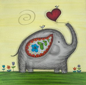 Mini Canvas Paintings - Elephant Love - 8in x 8in