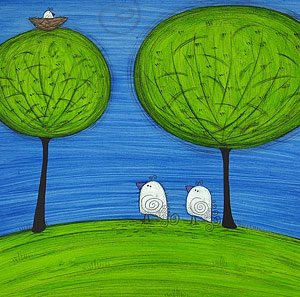 Mini Canvas Paintings - Family Nest - 8in x 8in
