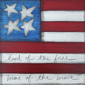 Mini Canvas Paintings - Flag - 8in x 8in