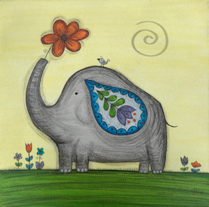 Mini Canvas Paintings - Happy Elephant - 8in x 8in