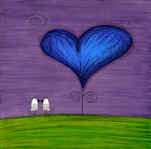 Mini Canvas Paintings - Just Us (purple) - 8in x 8in