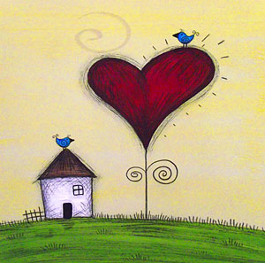 Mini Canvas Paintings  Love Grows House 2 - 8in x 8in